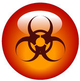 Biohazard button or icon. Red biohazard logo on red button or icon - vector Stock Images