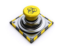 Biohazard button. Button with a biohazard symbol on a white background (3d render Stock Photography
