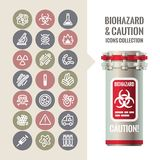 Biohazard and Caution Icons Collection Royalty Free Stock Photography