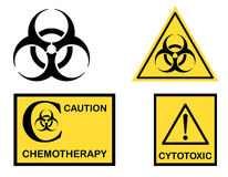 Biohazard Cytotoxic and Chemotherapy symbols. Biohazard, Cytotoxic and Chemotherapy symbols icons. Isolated over white background. Vector file saved as EPS AI8 Stock Image
