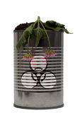 Biohazard danger. Dead plants, dead life in this warning image with a biohazard symbol Stock Image