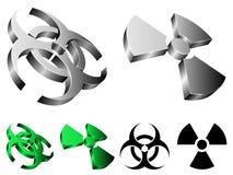 Biohazard e sinais da radiação. Fotografia de Stock