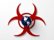 Biohazard Earth. Earth floating in the middle of biohazard symbol royalty free illustration