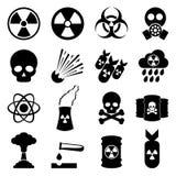 Biohazard en kernpictogramreeks Royalty-vrije Stock Foto