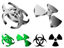 Biohazard et signes de rayonnement. Photographie stock