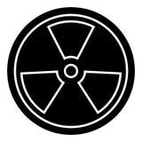 Biohazard - gevaarlijk stralingspictogram, vectorillustratie, zwart teken op geïsoleerde achtergrond stock illustratie