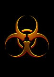 Biohazard gold symbol. In blackbackground Royalty Free Stock Images
