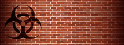 Biohazard graffiti on brick wall illustration Royalty Free Stock Photo