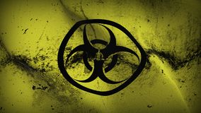 Biohazard grunge dirty flag waving on wind. Biohazard background fullscreen grease flag blowing on wind. Realistic filth fabric texture on windy day Royalty Free Stock Image
