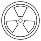 Biohazard, het gevaarlijke pictogram van de stralings vectorlijn, teken, illustratie op achtergrond, editable slagen royalty-vrije illustratie