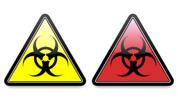 Biohazard Icons EPS. A pair of biohazard icons / symbols in red and yellow with shadows placed on a separate layer for ease of use. Available in vector EPS Stock Images