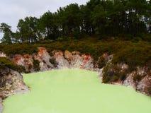 Biohazard lake. Yellow Hazard lake stock photography