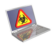 biohazard laptopu ekranu znak Fotografia Royalty Free