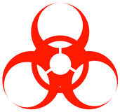 Biohazard logo. Red biohazard warning sign or logo on white - vector Royalty Free Stock Image