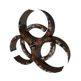 Biohazard. Metal rusty biohazard sign on white background royalty free illustration