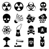 Biohazard and nuclear icon set. Vector set of 16 biohazard and nuclear toxicity icons isolated on white background. Simple and flat elements for web design Royalty Free Stock Photo