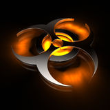 Biohazard - orange. Metallic biohazard symbol, orange glow, reflective gound Stock Photo