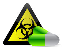 Biohazard pills. Sign illustration over a white background Royalty Free Stock Images