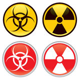 Biohazard and Radioactive Warning Signs. Shiny biohazard and radioactive warning signs and symbols royalty free illustration