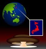 Biohazard radioativo global em Japão ilustração do vetor