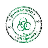 Biohazard rubber stamp. Abstract green rubber office stamp with the word biohazard written inside the stamp, around the symbol of biohazard Royalty Free Stock Photos