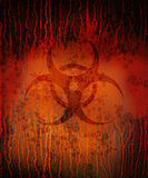 Biohazard rusty square. Rusty red old biohazard symbol Stock Photos
