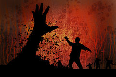 Biohazard rusty 4. Zombies approaching in front of biohazard symbol with hand rising from grave Stock Images