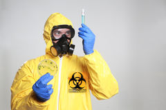 Biohazard. A scientist wearing a biological suit during an outbreak Royalty Free Stock Photos