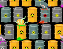 Biohazard seamless pattern. Open barrels of radioactive and toxi Royalty Free Stock Photo