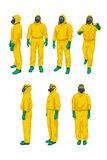 Biohazard set on white. Illustration of set man and woman in yellow biohazard protective siuts on white background Royalty Free Stock Photo