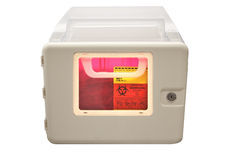 Biohazard sharps disposal box Stock Image