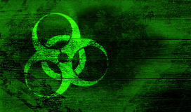 Biohazard sign. On woodwn crate vector illustration
