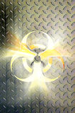 Biohazard Sign. Glowing biohazard symbol over steel background Conceptual photo-illustration Royalty Free Stock Photos