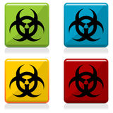 Biohazard sign buttons. With four different colors Royalty Free Stock Photography