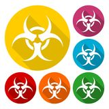 Biohazard sign icons set with long shadow Royalty Free Stock Photography