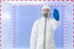 Biohazard specialist, stop gesture Stock Image
