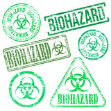 Biohazard Stamps. Different shape vector rubber stamp illustrations Stock Photo