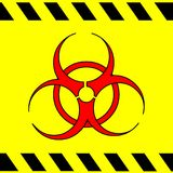 Biohazard Sticker. Biohazard symbol with danger tape strips in red, black and yellow Royalty Free Stock Photo