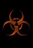Biohazard symbol. Biohazard gold symbol in blackbackground Royalty Free Stock Photography