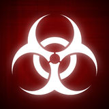 Biohazard Symbol auf rotem Hintergrund Lizenzfreie Stockfotos