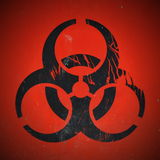 Biohazard Symbol. In Black with Red Background Stock Photo