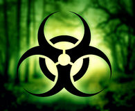 Biohazard symbol in forest Stock Image