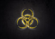 Biohazard symbol. Grunge view of the radiation radioactive sign on the dark background Royalty Free Stock Photography