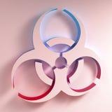 Biohazard symbol illustration. Three-dimentional Biohazard symbol. Biological danger symbol. 3D illustration Stock Photos