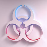 Biohazard symbol illustration. Three-dimentional Biohazard symbol. Biological danger symbol. 3D illustration Royalty Free Stock Photo