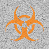 Biohazard Symbol on Old Dirty Concret Wall. Stock Photo