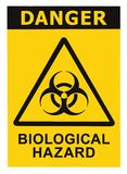 Biohazard symbol sign of biological threat alert black yellow triangle signage text isolated, large detailed sticker closeup
