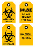 Biohazard symbol sign of biological threat alert, black yellow signage text, isolated Stock Image