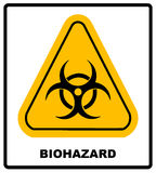 Biohazard symbol sign of biological threat alert, black yellow triangle signage text, isolated Stock Image