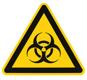 Biohazard symbol sign, biological threat alert, isolated black yellow triangle label signage, large detailed macro closeup. Biohazard symbol sign, biological stock photo
